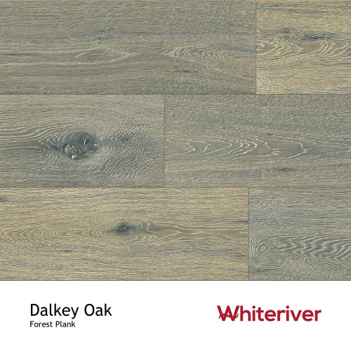 1m²: 14mm - Whiteriver - Forest - Dalkey Oak - Rustic Character Grade - Engineered - T&G Plank Flooring - Deep Hand Brushed, Knots & Sunken Filler, Special treatment & Matt Lacquered - Micro