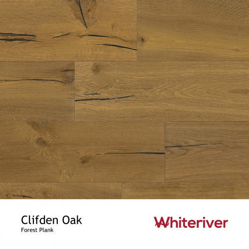 1m²: 14mm - Whiteriver - Forest - Clifden Oak - Vintage Rustic Grade - Engineered - T&G Plank Flooring - Smoked, Old Style Knots Cracks & Sunken Filler & UV Oiled - Micro Bevel 4 Sides - 14/3