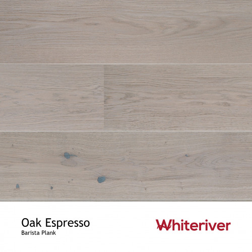 1m²: 14mm - Whiteriver - Barista - Espresso Oak - Rustic Nature Grade - Grey Stained - Brushed & Matt Lacquered - FSC - 5G Click Wide Plank Flooring - V2 Micro Bevel 2 Sides - 14/3x207x2200mm
