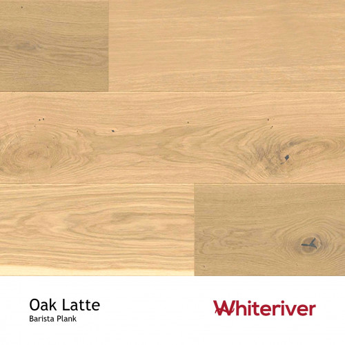 1m²: 14mm - Whiteriver - Barista - Latte Oak - Rustic Nature Grade - White Stained, Brushed & Matt Lacquered - FSC - 5G Click Plank Flooring - V2 Micro Bevel 2 Sides - 14/3x207x2200mm - (3.18