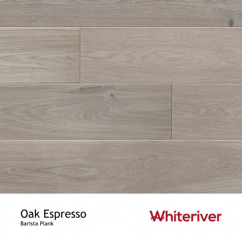 1m²: 14mm - Whiteriver - Barista - Oak Espresso - Rustic Nature Grade - Brushed, Grey Stained & Matt Lacquered - FSC - 5G Click Plank Flooring - V4 Micro Bevel 4 Sides - 14/3x180x2200mm - (2.