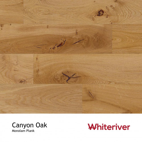 1m²: 18mm - Whiteriver - Canyon Oak - Country - Universal Grade - Engineered - T&G Plank Flooring - Lacquered - Micro Bevel 4 Sides - 18/3.3x125xRLmm - (1.20m²pk) - DIY PACKS