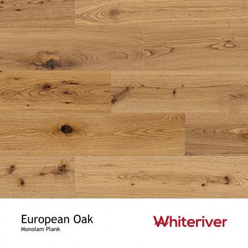 1m²: 18mm - Whiteriver - Monolam - European Oak - Universal Grade - Engineered - T&G Plank Flooring - Lacquered - Micro Bevel 4 Sides - 18x127x400-1800mm - (2.2352m²pk)