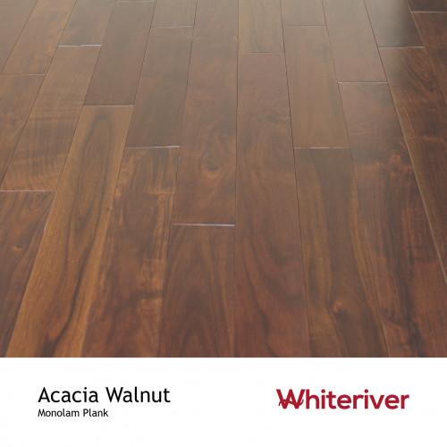1m²: 18mm - Whiteriver - Monolam - Acacia Walnut - Universal Grade - Engineered - T&G Plank Flooring - Stained & Lacquered - Micro Bevel 4 Sides - 18/4x120xRLmm - (2.016m²pk)