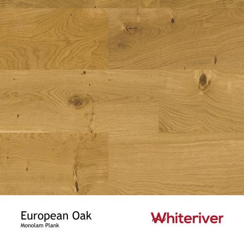 1m²: 18mm - Whiteriver - Monolam - European Oak - Universal Grade - Engineered - T&G Plank Flooring - Lacquered - Micro Bevel 4 Sides - 18/4x190x400-1800mm - (2.508m²/pk)