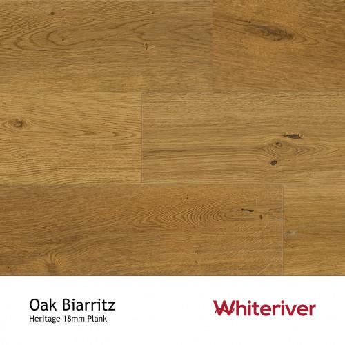 1m²: 18mm - Whiteriver - Heritage - Oak Biarritz - Universal Grade - Engineered - T&G Plank Flooring - Heavy Brushed & Matt Lacquered - Micro Bevel 4 Sides - 18/4x190x1900mm - (2.166m²/pk)