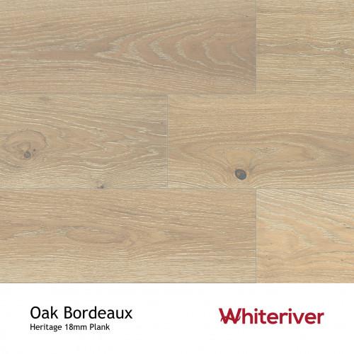 1m²: 18mm - Whiteriver - Heritage - Oak Bordeaux - Universal Grade - Engineered - T&G Plank Flooring - Limewashed. Medium Brushed & Matt Lacquered - Micro Bevel 4 Sides - 18/4x190x1900mm - (2