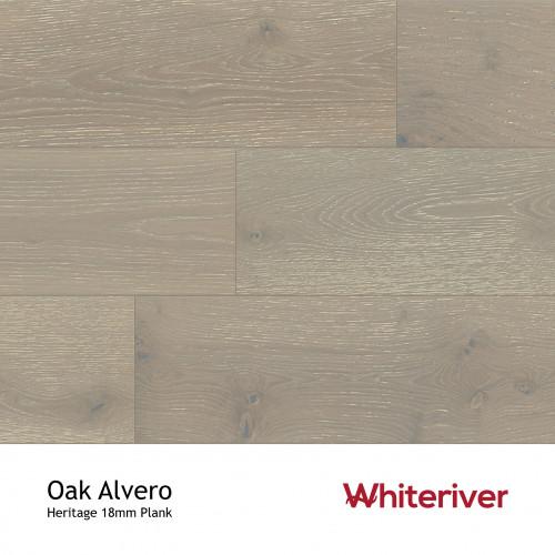 1m²: 18mm - Whiteriver - Heritage - Oak Alvero - Universal Grade - Engineered - T&G Plank Flooring - Special Grey Limewashed Matt Lacquered - Micro Bevel 4 Sides - 18/4x190x1900mm - (2.166m²/