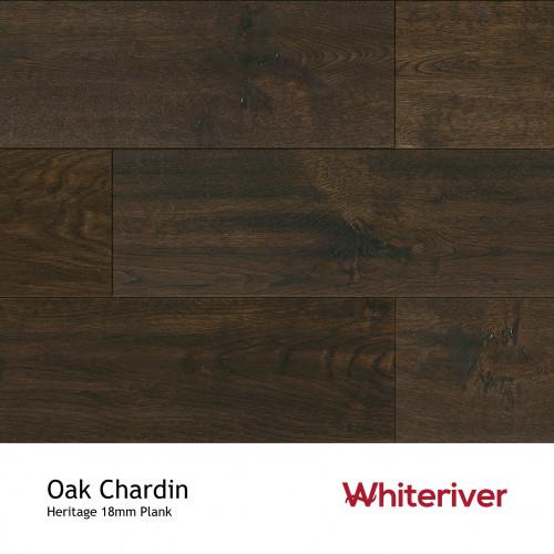 1m²: 18mm - Whiteriver - Heritage - Oak Chardin - Universal Grade - Engineered - T&G Plank Flooring - Light Brushed, Light Handscraped, Black & Matt Lacquered - Micro Bevel 4 Sides - 18/4x190