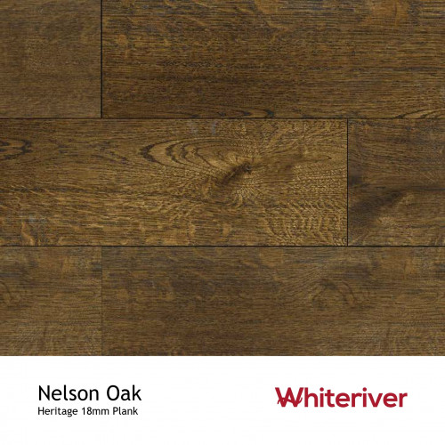 1m²: 18mm - Whiteriver - Heritage - Nelson Oak - Universal Grade - Engineered - T&G Plank Flooring - Special Stain, Heavy Brushed  Matt Lacquered - Micro Bevel 4 Sides - 18/4x190x1900mm - (2.