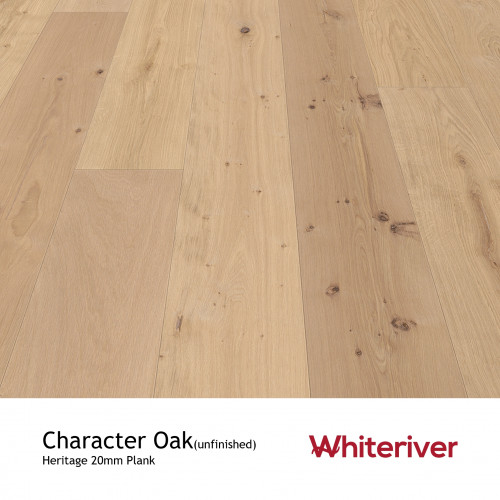 1m²: 21mm - Whiteriver - Prestige - Character Oak - Rustic Character Grade - Engineered - T&G Plank Flooring - Sanded, Filled & Unfinished - Micro Bevel 4 Sides - 21/6x170x2400mm - (Various m