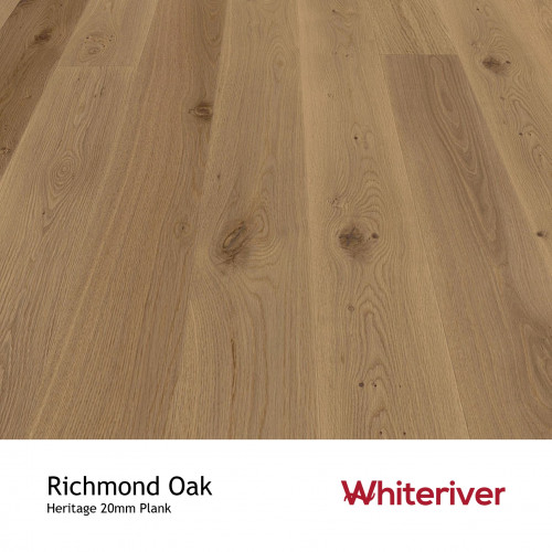 1m²: 20mm - Whiteriver - Heritage - Richmond Oak - Universal Grade - European Oak - Engineered - T&G Plank Flooring - Matt Lacquered - Micro Bevel 4 Sides - 20/6x189x2200mm - (2.08m²pk)