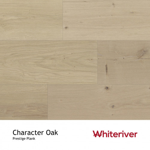 1m²: 19mm - Whiteriver - Prestige - Character Oak - Rustic Character Grade - Engineered - T&G Plank Flooring - Unfinished - Micro Bevel 4 Sides - 19/4x210x2350mm - (1.974m²pk)