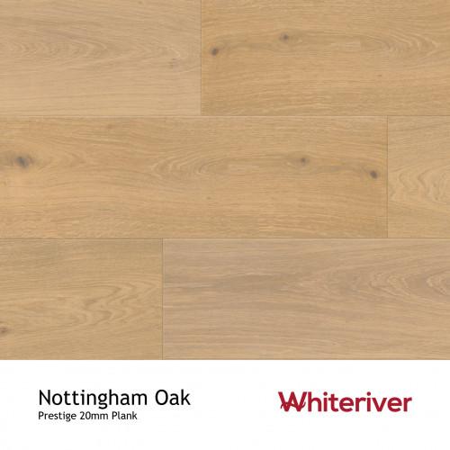 1m²: 20mm - Whiteriver - Prestige - Nottingham Oak - European Oak - Universal Grade - Engineered - T&G Plank Flooring - Smoked, Extra White, Light Brushed & UV Oiled - 20/6x220x2200mm - (1.93
