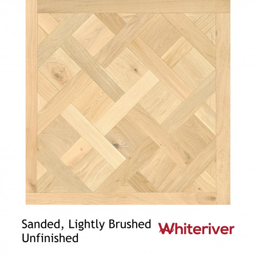 1m²: 18mm - Whiteriver - Versailles Panels - European Oak - Rustic A / Nature Grade -  Light Brushed & Unfinished - 18/4x900x900mm - (1.62m²pk)