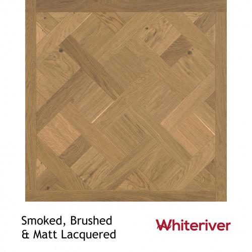 1m²: 18mm - Whiteriver - Versailles Panels - European Oak - Rustic A / Nature Grade -  Smoked Brushed & Matt Lacquered - 18/4x900x900mm - (1.62m²pk)