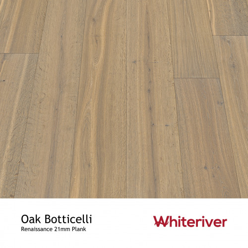 1m²: 21mm - Whiteriver - Renaissance - Oak Botticelli - European Oak - Rustic Character Grade - Engineered - T&G Plank Flooring - Smoked, White & UV Oil / Wax - Bevel 2 Sides - 21/6x260x2400m