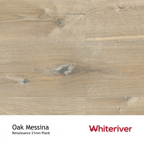 1m²: 21mm - Whiteriver - Renaissance - Oak Messina - European Oak - Rustic Character Grade - Engineered - T&G Plank Flooring - Smoked, Planed & Extra White UV Oiled - Bevelled 2 Sides - 21/6x