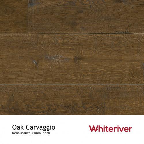21mm - Whiteriver - Renaissance - Oak Carvaggio - European Oak - Rustic Character Grade - Engineered - T&G Plank Flooring - Smoked, Black, Distressed, Planed & UV Oil / Wax -