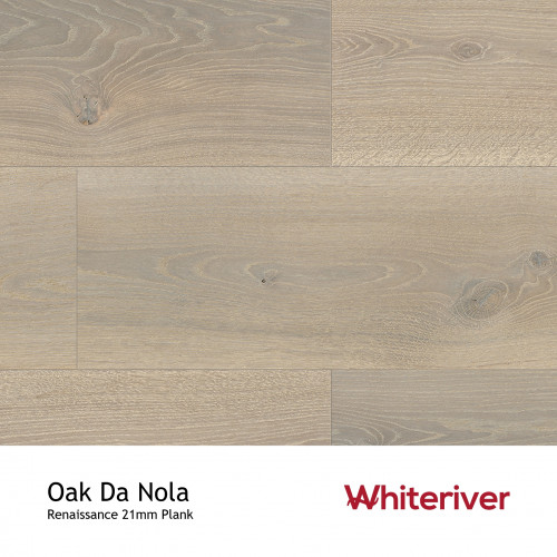 1m²: 21mm - Whiteriver - Renaissance - Da Nola Oak - European Oak - Rustic Character Grade - Engineered - T&G Plank Flooring - Special Stain White & UV Oil/Wax - Micro Bevel 4 Sides - 21/6x26