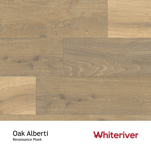 1m²: 13mm - Whiteriver - Renaissance Plank Collection - Oak Alberti - Rustic Character Grade - Engineered - T&G Plank Flooring - Smoked & White UV Oiled - Bevelled 2 Sides (GO2) - 13/4x260x19