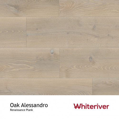 1m²: 13mm - Whiteriver - Renaissance Plank Collection - Oak Alessandro - Rustic Character Grade - Engineered - T&G Plank Flooring - Special Stain White UV Oil/Wax - Bevelled 2 Sides (GO2) - 1