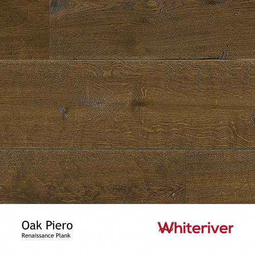1m²: 13mm - Whiteriver - Renaissance Plank Collection - Oak Piero - Rustic Character Grade - Engineered - T&G Plank Flooring - Smoked, Distressed, Planed & Black UV Oil/Wax - Bevelled 2 Sides