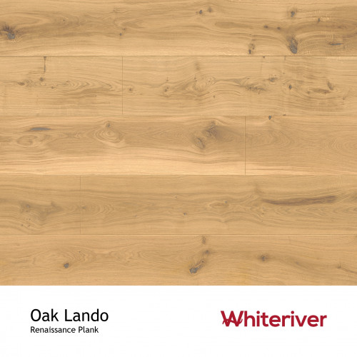 1m²: 13mm - Whiteriver - Renaissance Plank Collection - Oak Lando - Rustic Character Grade - Engineered - T&G Plank Flooring - Special White UV Oil/Wax - Bevelled 2 Sides (GO2) - 13/4x260x240