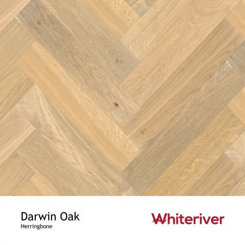 1m²: 18mm - Whiteriver - Herringbone By Whiteriver - Darwin Oak - Rustic A/Nature Grade European Oak - Engineered T&G Herringbone Block Flooring - Smooth, Smoked & Extra White & Matt Lacquere