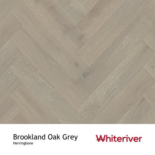 1m²: 18mm - Whiteriver - Herringbone By Whiteriver - Brookland Oak - Rustic A/Nature Grade European Oak - Engineered T&G Herringbone Block Flooring - Grey Limewashed, Brushed & Matt Lacquered