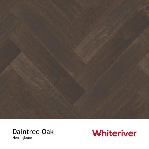 1m²: 18mm - Whiteriver - Herringbone By Whiteriver - Daintree Oak - Rustic A/Nature Grade - Engineered T&G Herringbone Block Flooring - Light Handscraped & Brushed, Black Matt Lacquered - Mic