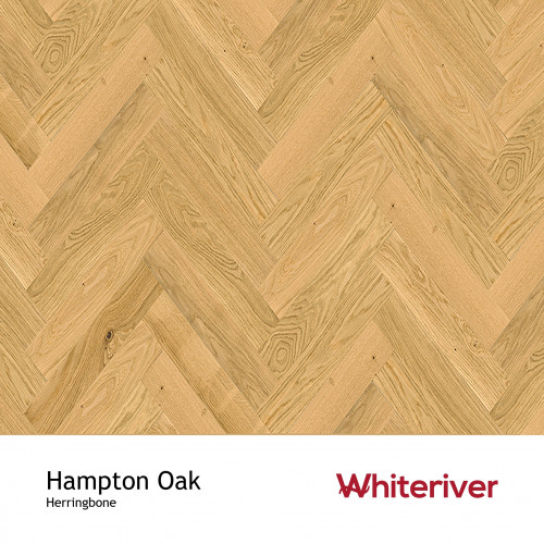 1m²: 14mm - Whiteriver - Herringbone By Whiteriver  - Hampton Oak - Rustic A/Nature Grade European Oak - Engineered T&G Herringbone Block Flooring - Heavy Brushed & Matt Lacquered - MicroBeve