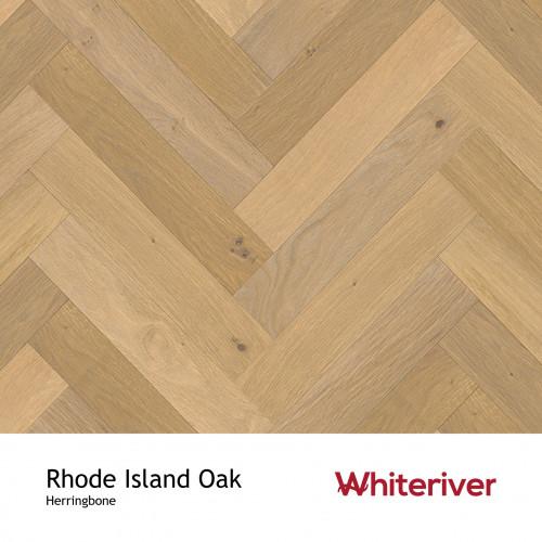 1m²: 14mm - Whiteriver - Herringbone By Whiteriver - Rhode Island Oak - Rustic A/Nature Grade European Oak - Engineered T&G Herringbone Block Flooring - Smooth, Smoked & White UV Oiled - Micr