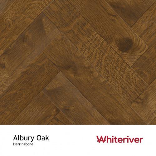 1m²: 18mm - Whiteriver - Herringbone By Whiteriver - Albury Oak - Rustic A/Nature Grade European Oak - Engineered T&G Herringbone Block Flooring - Special Stain & Brushed Matt Lacquered - Mic