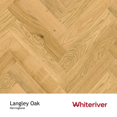 1m²: 18mm - Whiteriver - Herringbone By Whiteriver - Langley Oak - Rustic A/Nature Grade European Oak - Engineered T&G Herringbone Block Flooring - Matt Lacquered - MicroBevel 4 Sides - 18/4x