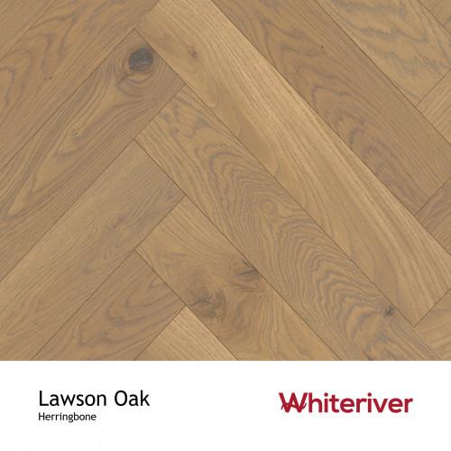 1m²: 20mm - Whiteriver - Herringbone By Whiteriver - Lawson Oak - Rustic Character Grade European Oak - Engineered T&G Herringbone Block Flooring - Smooth, Grey Brown UV Oiled - Square Edge -