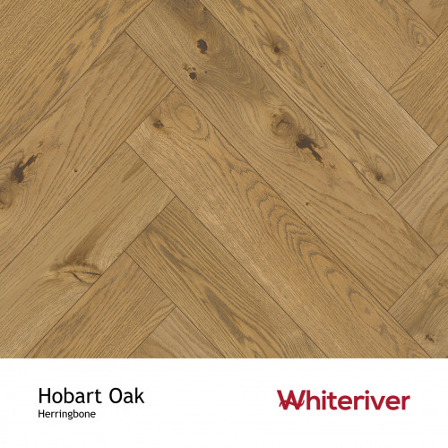1m²: 20mm - Whiteriver - Herringbone By Whiteriver - Hobart Oak - Rustic Character Grade European Oak - Engineered T&G Herringbone Block Flooring - Smooth, Black Brown UV Oiled - Square Edge