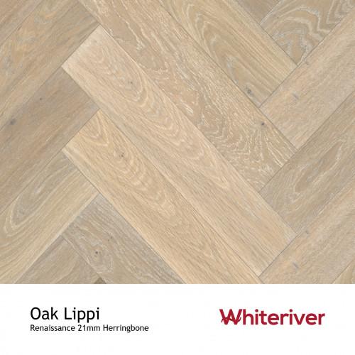 1m²: 21mm - Whiteriver - Renaissance Herringbone - Oak Lippi - Rustic A/Nature Grade European Oak - Engineered T&G Herringbone Block Flooring - Smoked, Distressed & Extra White UV Oiled - Mic