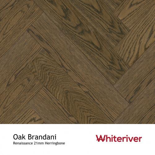 1m²: 21mm - Whiteriver - Renaissance Herringbone - Oak Brandani - Rustic A/Nature Grade European Oak - Engineered T&G Herringbone Block Flooring - Smoked, Distressed & Black UV Oiled - MicroB