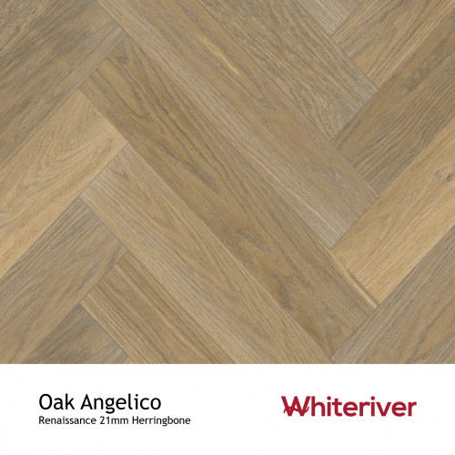 1m²: 21mm - Whiteriver - Renaissance Herringbone - Oak Angelico - Prime Grade European Oak - Engineered T&G  Herringbone Block Flooring - Smoked & White UV Oiled - Micro Bevel 4 Sides - 21/6x