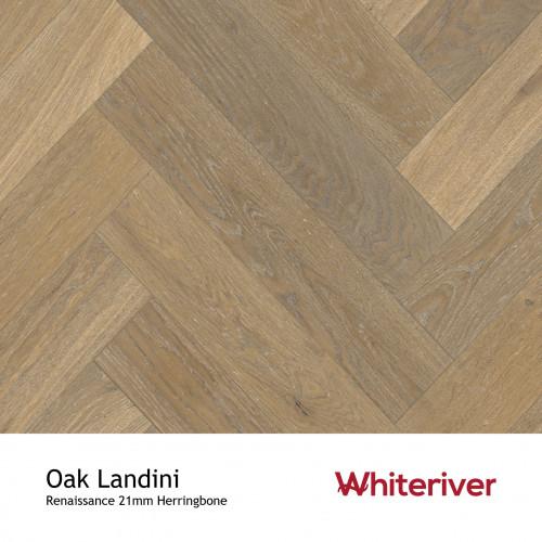 1m²: 21mm - Whiteriver - Renaissance Herringbone - Oak Landini - Rustic A/Nature Grade European Oak - Engineered T&G Herringbone Block Flooring - Smoked Distressed & White UV Oil/Wax - MicroB