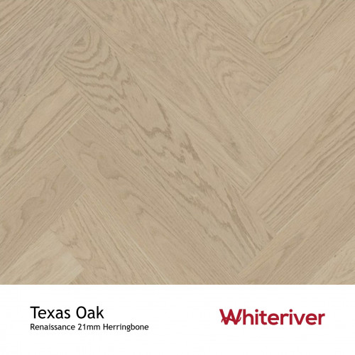1m²: 21mm - Whiteriver - Renaissance Herringbone Collection - Texas Oak - Prime Grade - Engineered - Herringbone Block Flooring - Unfinished - 21/6x120x600mm - (0.576m²/pk)