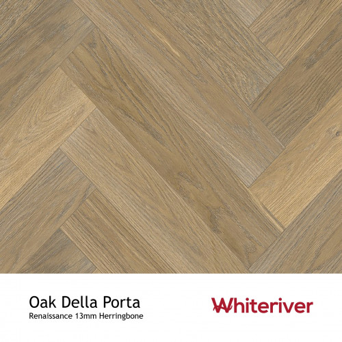 1m²: 13mm - Whiteriver - Renaissance Herringbone - Oak Della Porta - Prime Grade European Oak - Engineered T&G Herringbone Block Flooring - Smoked, White UV Oil/Wax - MicroBevel 4 Sides - 13/
