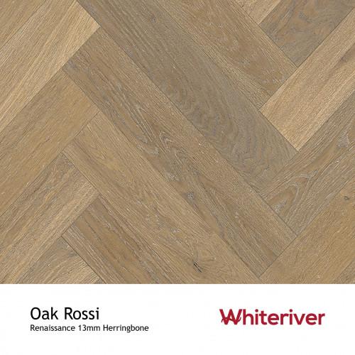 1m²: 13mm - Whiteriver - Renaissance Herringbone - Oak Rossi - Rustic A/Nature Grade European Oak - Engineered T&G Herringbone Block Flooring - Smoked, Distressed, White UV Oil/Wax - MicroBev