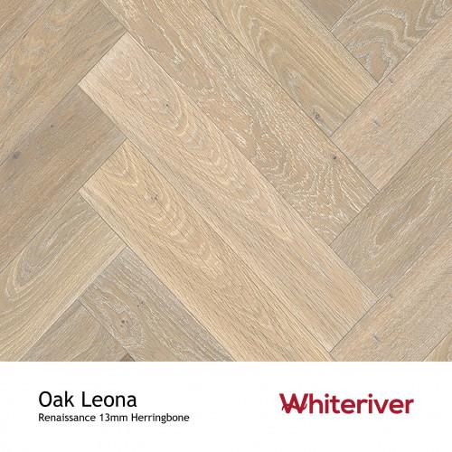 1m²: 13mm - Whiteriver - Renaissance Herringbone - Oak Leona - Rustic A/Nature Grade European Oak - Engineered T&G Herringbone Block Flooring - Smoked, Extra White UV Oil/Wax - MicroBevel 4 S