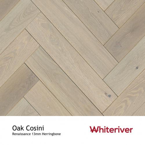 1m²: 13mm - Whiteriver - Renaissance Herringbone - Oak Cosini - Rustic A/Nature Grade European Oak - Engineered T&G Herringbone Block Flooring - Special Stain & White UV Oil/Wax (DSC) - Micro