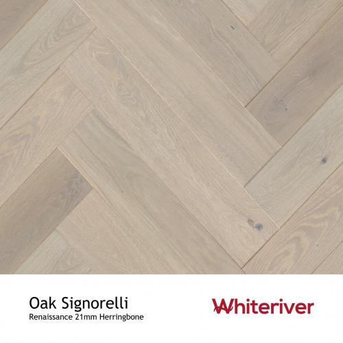 1m²: 21mm - Whiteriver - Renaissance Herringbone - Signorelli Oak - Rustic A/Nature Grade European Oak - Engineered T&G Herringbone Block Flooring - Special Stain & White UV Oil/Wax (DSC) - M