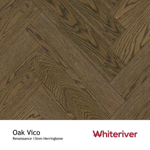1m²: 13mm - Whiteriver - Renaissance Herringbone - Oak Vico - Rustic A/Nature Grade European Oak - Engineered T&G Herringbone Block Flooring - Smoked, Distressed, Planed, Black UV Oil/Wax - M