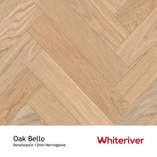 1m²: 13mm - Whiteriver - Renaissance Herringbone - Oak Bello - Prime Grade European Oak - Engineered T&G Herringbone Block Flooring - Special White UV Oil/Wax - MicroBevel 4 Sides - 13/4x120x