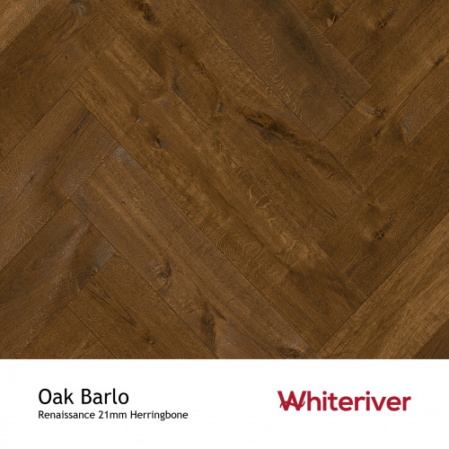 1m²: 21mm - Whiteriver - Renaissance Herringbone - Oak Barlo - Rustic A/Nature Grade European Oak - Engineered T&G Herringbone Block Flooring - Special Stain & Black UV Oil/Wax - MicroBevel 4